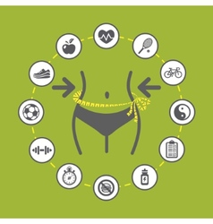 Weight loss with health and fitness icons vector