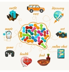 Brain with thoughts icons vector