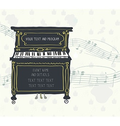 Poster for the piano concert with melody vector