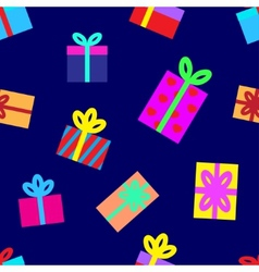 Seamless background of gift boxes vector
