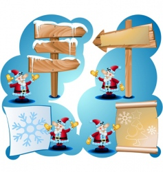 Santa claus and road signs vector