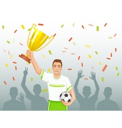 Footballer with winner cup vector