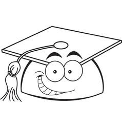 Cartoon smiling graduation cap vector