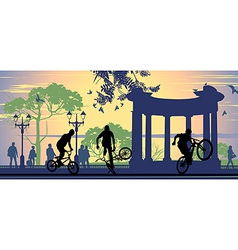 Boys on bicycles vector