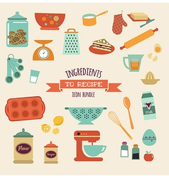 Recipe and kitchen design icon set vector