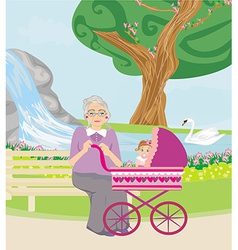 Grandmother with her granddaughter for a walk in vector