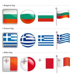 Bulgaria and greece malta flag icon vector