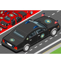 Isometric presidential limousine in rear view vector