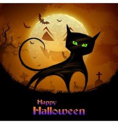 Scary cat in halloween night vector