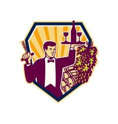 Waiter serve wine glass bottle shield retro vector