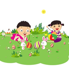 Happy easter eggs with kids and bunny funny vector