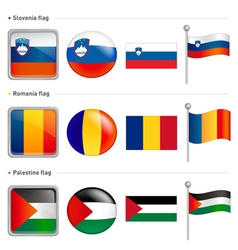 Slovenia and romania palestine flag icon vector