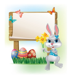 Wooden sign with easter bunny vector