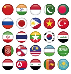Asiatic flags round icons vector