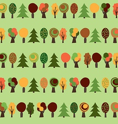 Autumn semaless pattern yellow red and green trees vector