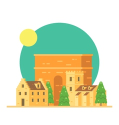 Flat design of trajans arch italy with village vector