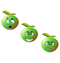 Cartoon apple fruit set 2 vector