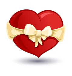Valentine heart with a beige bow-knot vector