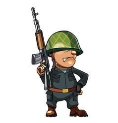 Cartoon man soldier in a helmet with a gun vector