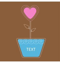 Heart flower in pot card vector