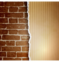 Ragged paper with a pattern of lines on brick wall vector