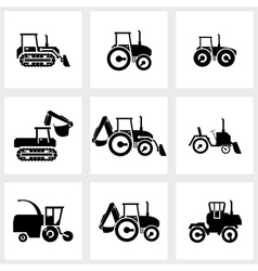 Icon set tractors and kombain vector