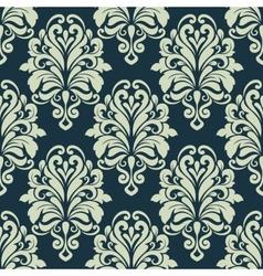 Green retro floral arabesque seamless pattern vector