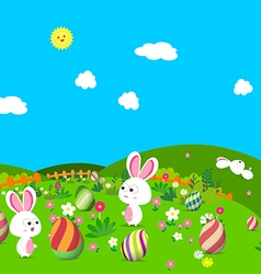 Colorful happy easter greeting card with eggs and vector