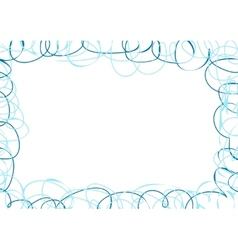 Abstract frame with blue scribbles vector
