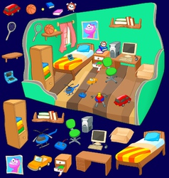 Boy bedroom detailed view with set of items vector