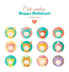 Set of holiday carnival avatars vector