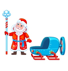 Santa claus and snowmobile vector