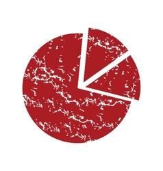 Red grunge pie chart logo vector