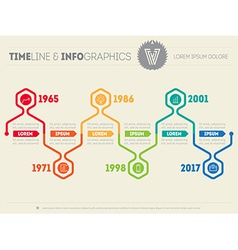 Horizontal infographic timelines web template for vector