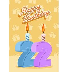 22 years celebration 22nd happy birthday vector