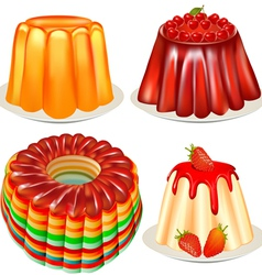 Dessert jelly pudding vector