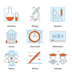 Various school themed graphic icons vector
