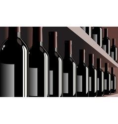 Wine bottles shelf store winery vector