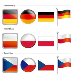 Germany and poland czech flag icon vector