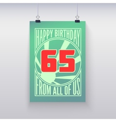 Vintage retro poster happy birthday vector