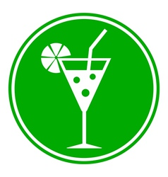 Cocktail glass button vector