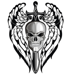 Winged skull with sword vector