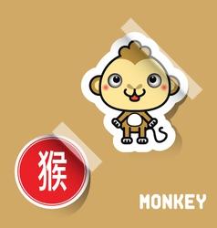 Chinese zodiac sign monkey sticker vector