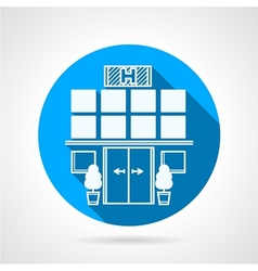 Blue icon for hospital facade vector