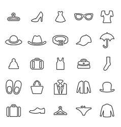 25 outline universal clothes icons vector