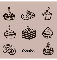 Set of sweet cake with fruit vector