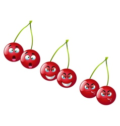 Cartoon cherry set 2 vector
