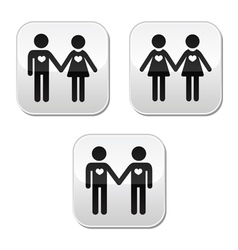 Man and woman gay and lesbian couples buttons vector