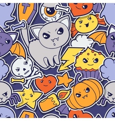Seamless halloween kawaii pattern with sticker vector