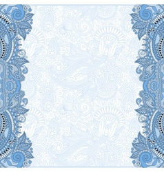 Blue colour unusual floral ornamental template vector